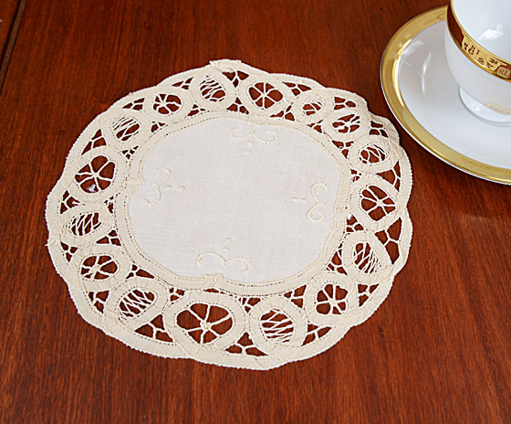 Battenburg Lace doilies