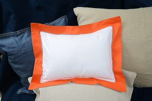 baby pillow sham-Orange trimmed