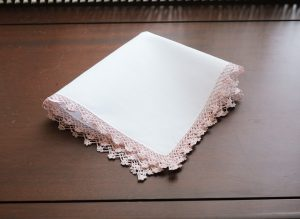 Cotton handkerchief. Lace Trimmed