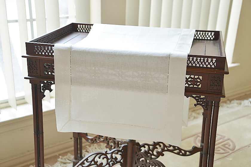 Natural Linen Winter White Table Runner