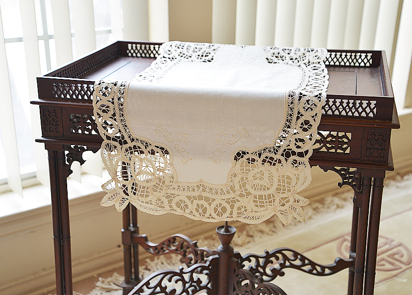 Battenburg Lace Table Runner. Mother of Pearl color