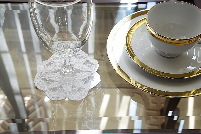 battenburg wine glass coaster