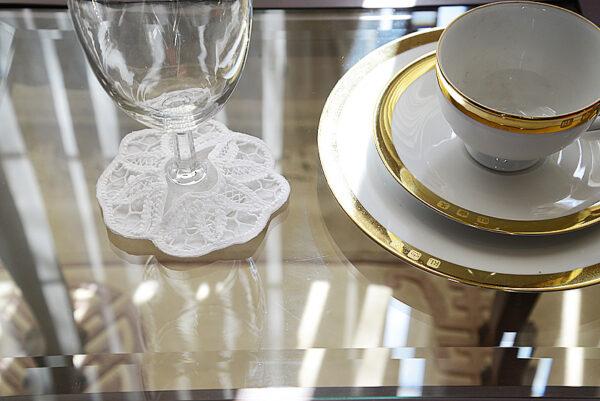 Imperial Battenburg Lace wine glass coaster