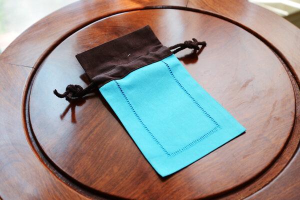 multi color linen hemstitch sachet bag